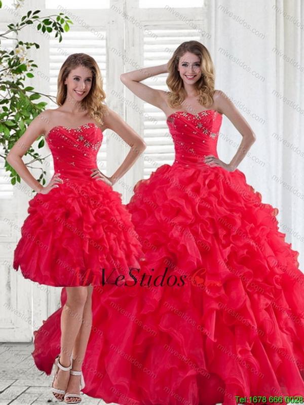 Vestidos para salida de sexto color rojo
