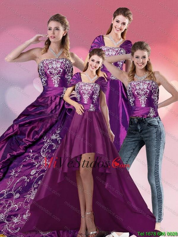Bordado sin tirantes vestido de quinceañera en púrpura para 2015 ...