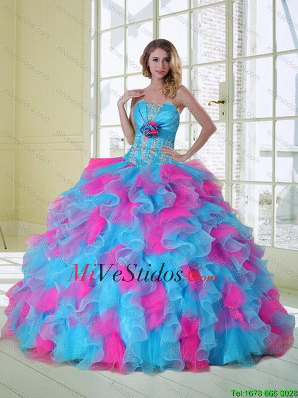 c18b4c6e5e €598.09 €298.54  2015 nuevo estilo multicolor vestido de quinceañera con  Appliques y Ruffles