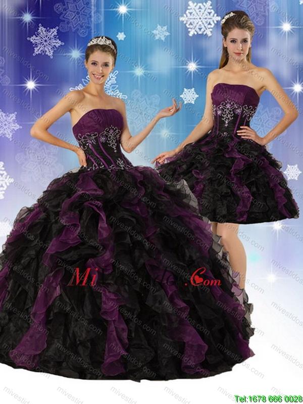 91728baa9 2015 sin tirantes elegante multicolor vestido de quinceañera con Volantes y  bordado. triumph