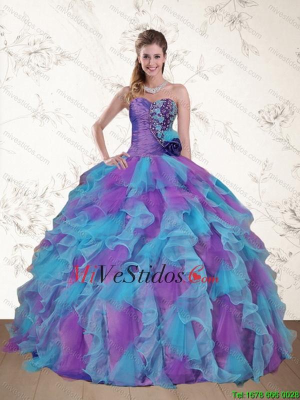 Lindo sin tirantes rebordear y Ruffles Multi Color dulce 15 Vestido ...