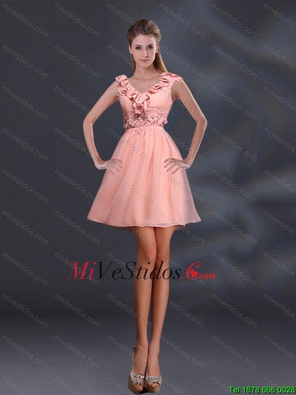 2015 Apliques bonitas y vestidos de Ruffles una línea de dama de ...