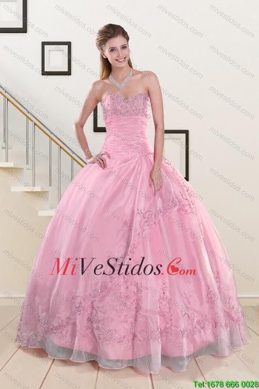 Rebordear y apliques de bebé de color rosa vestidos de quinceañera ...