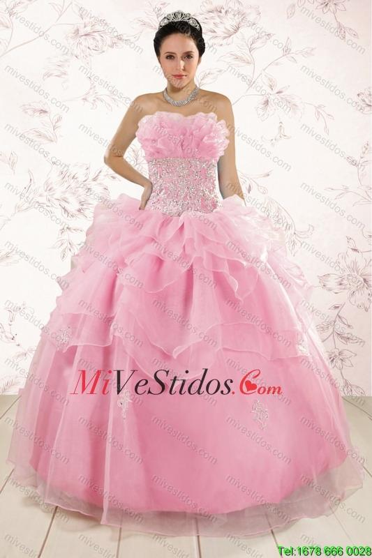 Los Vestidos Apliques más populares bebé rosados para Quinceañera ...