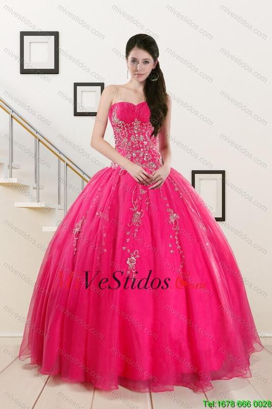 2015 Pretty novia de rosa caliente Vestidos de quinceañera con ...