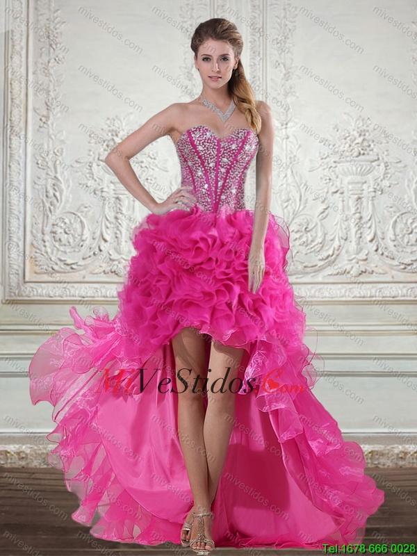 2015 Hot Pink High baile vestidos Bajos con rebordear y capas con ...