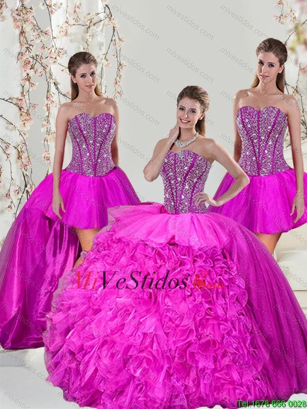 \u20ac442.32 \u20ac221.16 2015 Primavera desmontables Hot Pink Sweet 16 Vestidos con rebordear y Ruffles