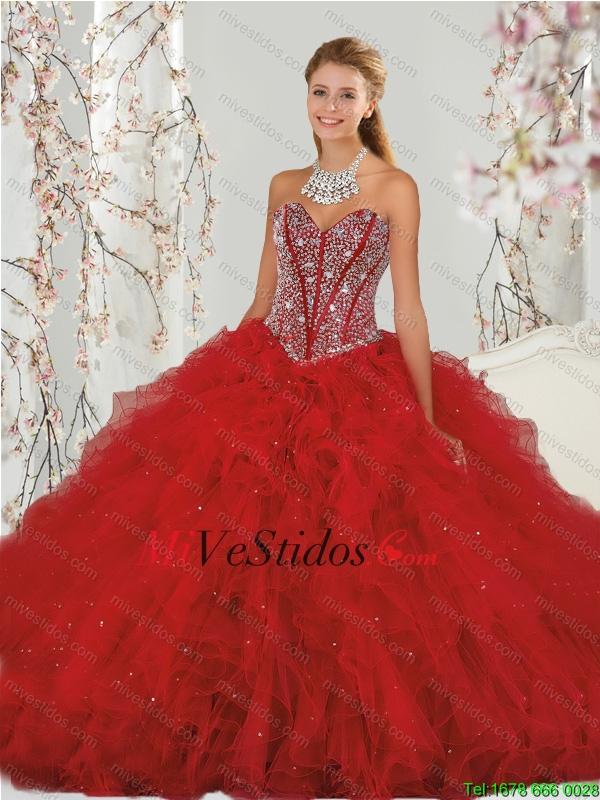 b9d938594 €442.32 €221.16  La mayoría de los populares y acc y Ruffles rojos vestidos  para Quinceañera