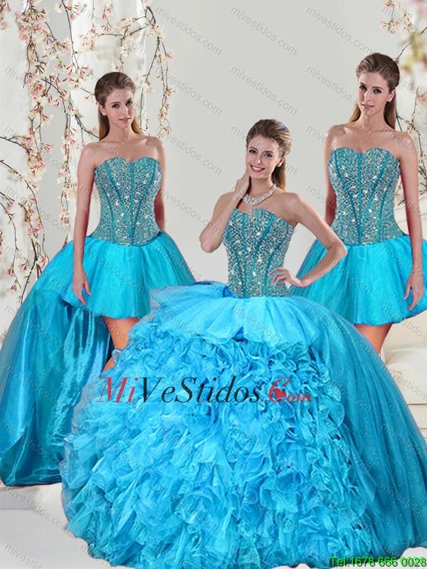 \u20ac438.98 \u20ac219.49 Desmontable Aqua Blue Dulces 15 Vestidos con rebordear y Ruffles para 2015