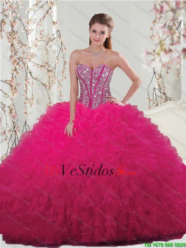 Unique rebordear y riza los vestidos Para Membrillo en rosa fuerte ...