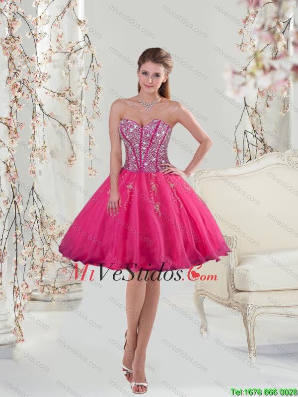 2015 Sweetheart Hot Pink Lentejuelas y Apliques vestidos de baile ...