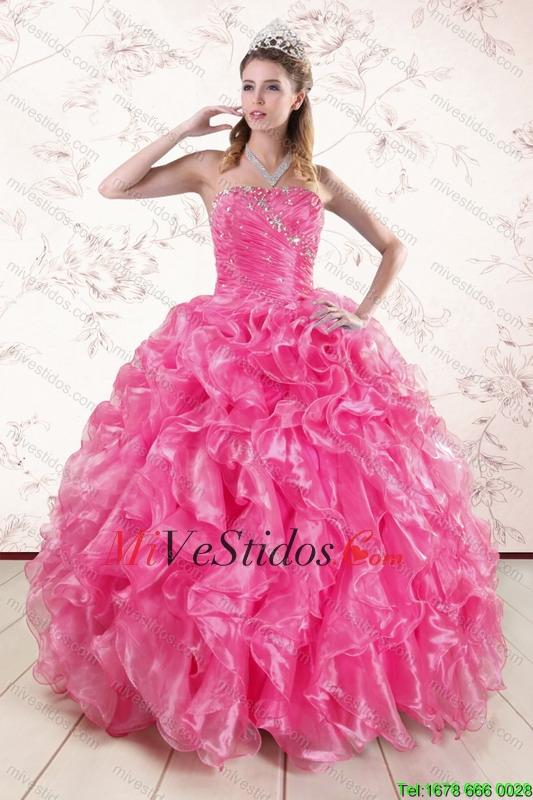 2015 bastante rosado caliente Vestidos de quinceañera con Volantes ...