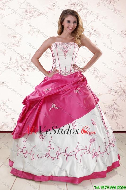 Lujoso Bordado dulces 15 vestidos en blanco y rosa caliente - €225.63