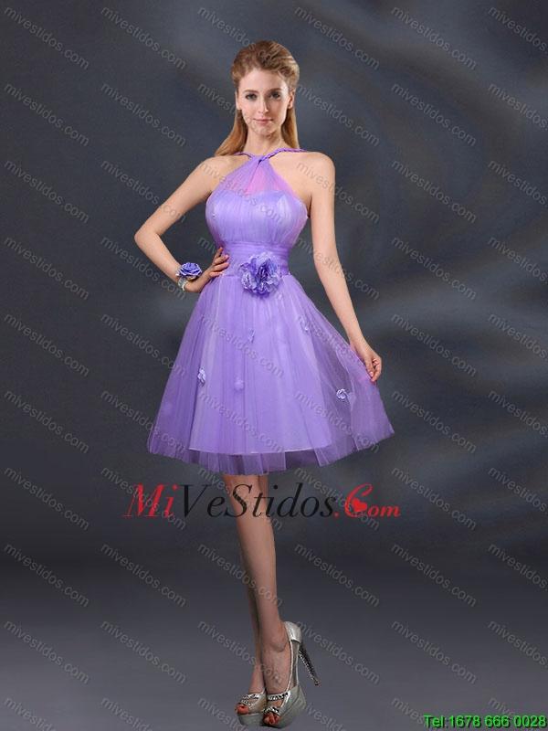 Pretty halter una línea vestidos de dama de honor con Hand Made ...