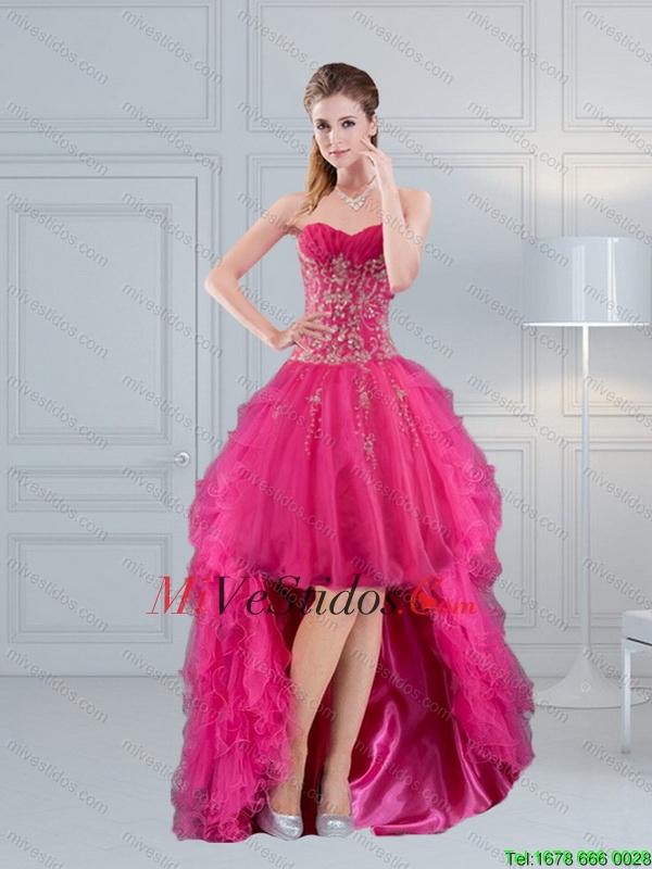Alta Baja Sweetheart rosa caliente vestido de fiesta 2015, con ...