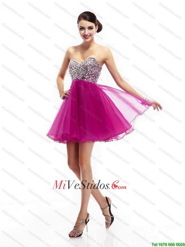 Hermosas fucsia baile vestidos con diamantes de imitación - €132.76