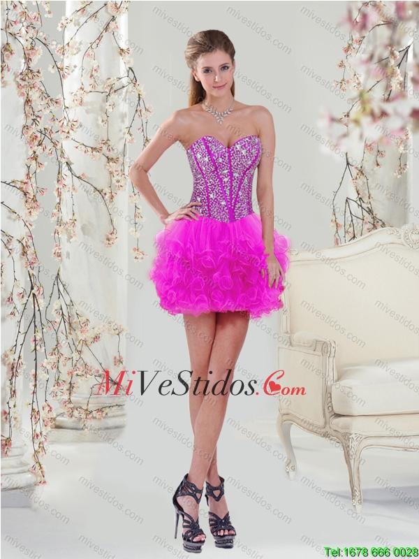 Gorgeous rebordear y Ruffles fucsia vestidos de baile - €152.47