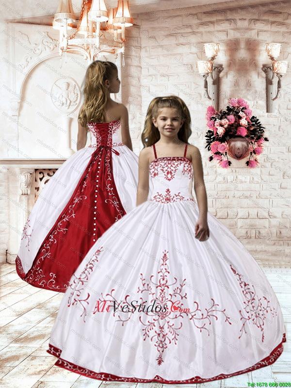 Vestidos de nina para boda blanco con vino