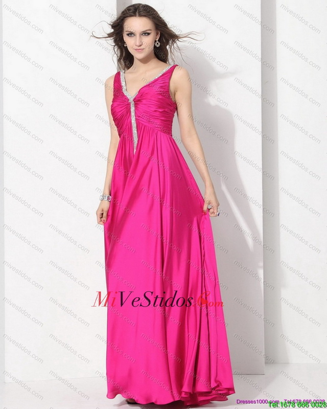 Perfect Hot Pink baile vestidos largos con apliques y acanalar - €135.76