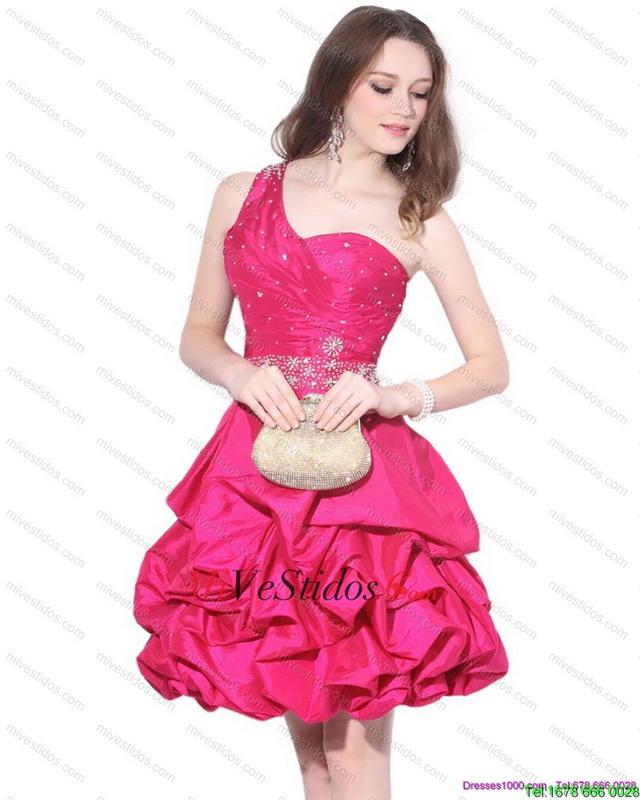 Perfecto de un hombro rebordear vestido de fiesta con pick ups - €103.59