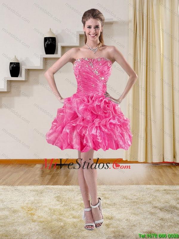 2015 Hermosa con cuentas sin tirantes de vestidos de baile con las ...