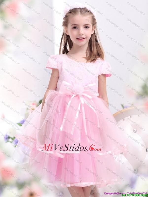 Unico lazo y Apliques 2015 pequeños vestidos de niña en rosa rosa ...