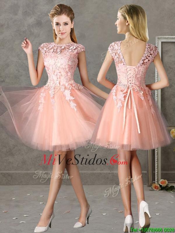 Asombroso Rosa Vestidos De Dama Corto Colección - Ideas de Vestido ...