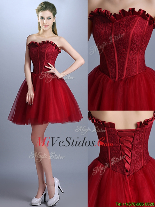 Las Nuevas Llegadas Del Cordón Mini Longitud Vestido De Dama