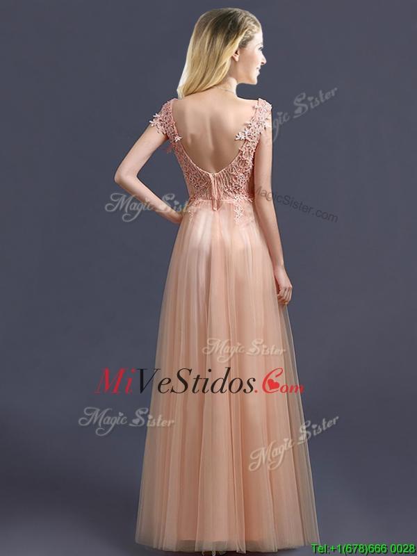 Mejor venta V del cuello largo vestido de dama de honor con apliques ...
