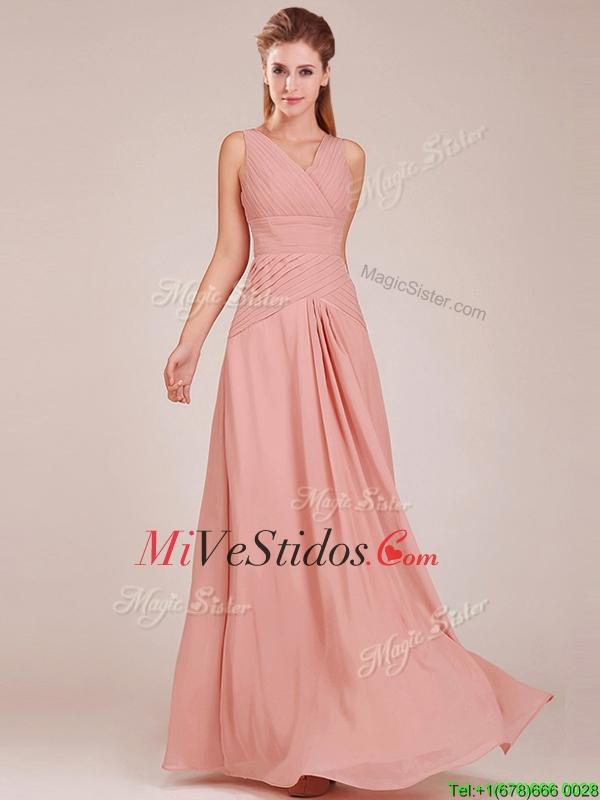 Decorado con pliegues blusa modesta vestido de dama de melocotón con ...