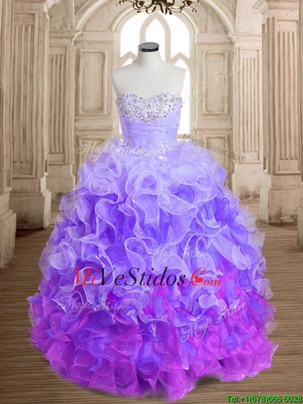 Único arco iris grande vestido de quinceañera hinchada con listones ...