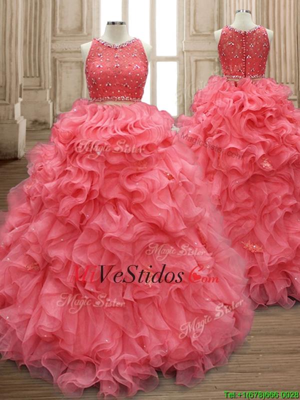 Dos piezas de vestido de quinceañera rojo sandía de la cucharada con ...