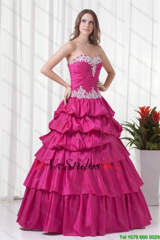 Una línea de novia rosado brillante tafetán Apliques largo vestido ...