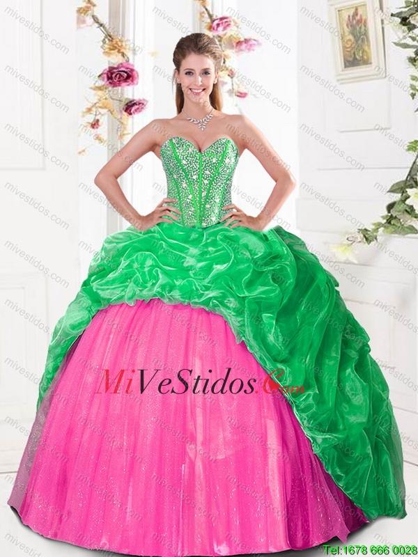 2016 lujosamente vestido de novia quinceañera con rebordear y Pick ...