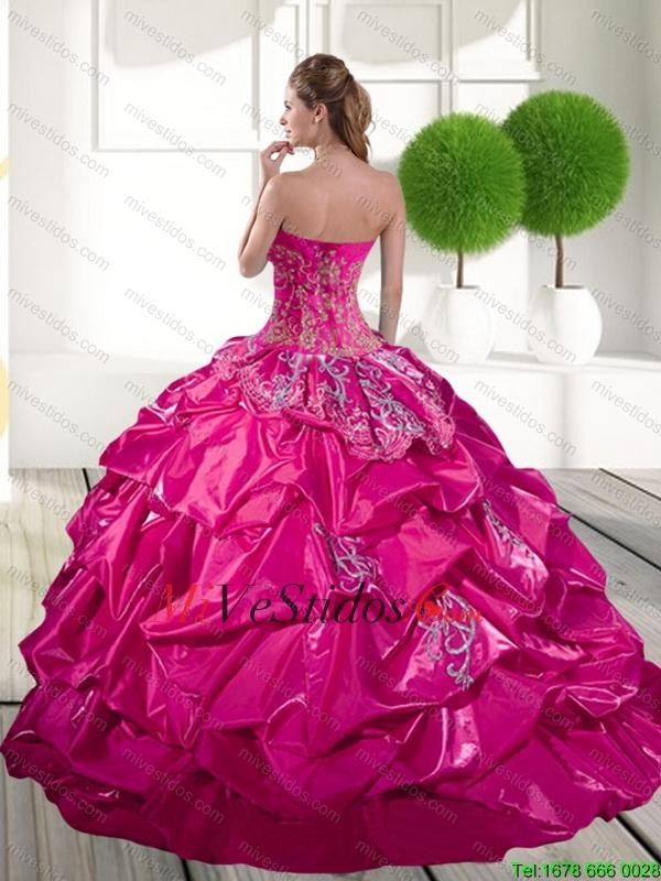 2016 Apliques clásicos y Pick Ups Quinceañera vestido en rosa fuerte ...