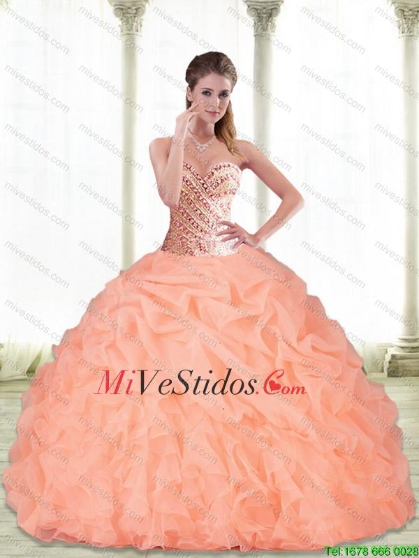 f93fad59a0 Perfecto amor que rebordea y pick ups melocotón 2015 Vestidos de quinceañera.  triumph