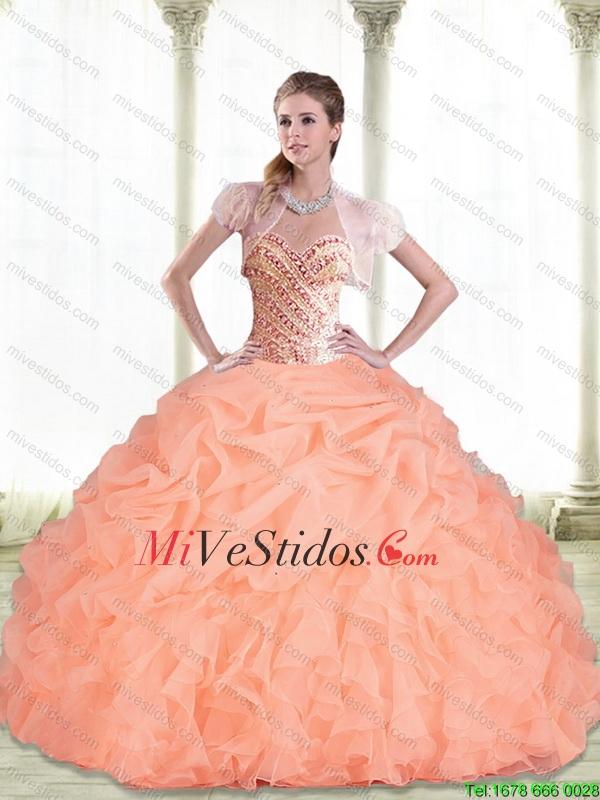 c8a334c8d5 Perfecto amor que rebordea y pick ups melocotón 2015 Vestidos de ...
