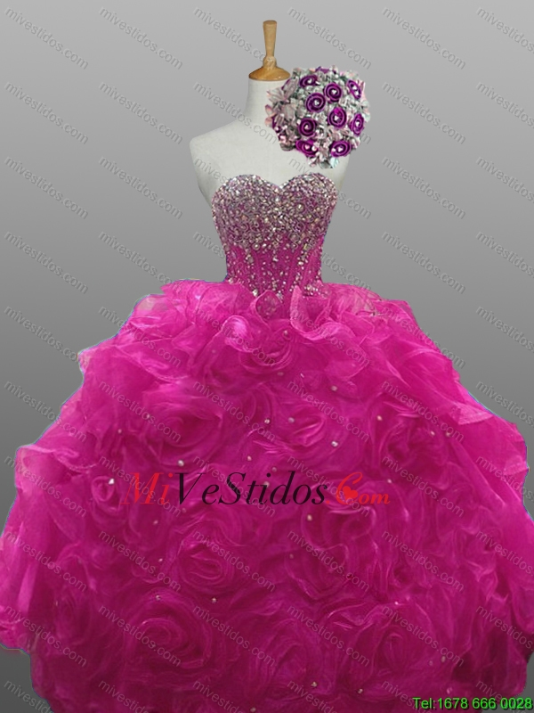 2015 Gorgeous Quinceanera Dresses with Beading and Rolling Flowers