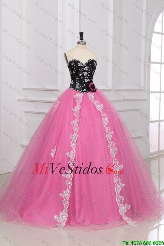 Rebordear y apliques de novia vestido de quinceañera en Negro y rosa ...