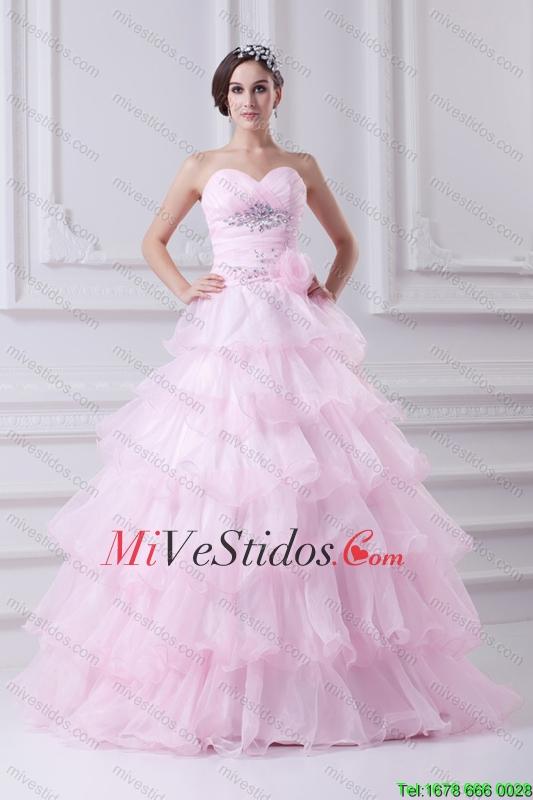 Vestido de bola sin tirantes de partida Apliques bebé vestido rosado ...