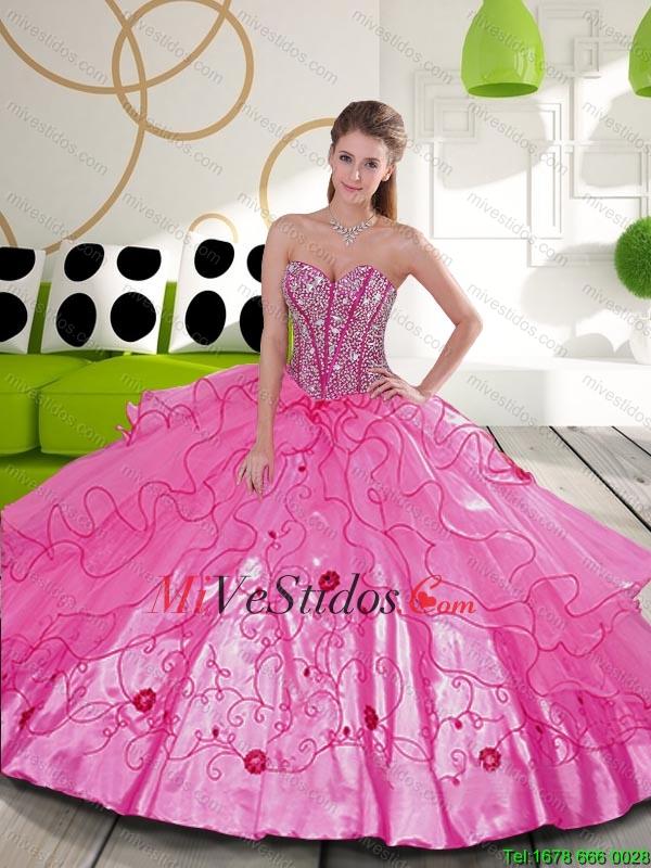 Lujoso y rebordear bordado rosado brillante Vestidos de quinceañera ...