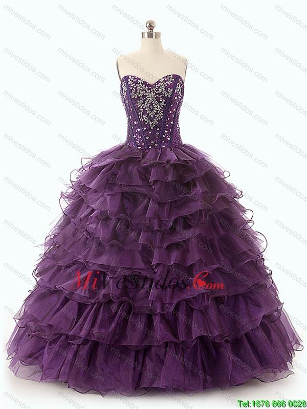 Bonito Morado Oscuro Vestidos de quinceañera con capas rizadas - €203.12