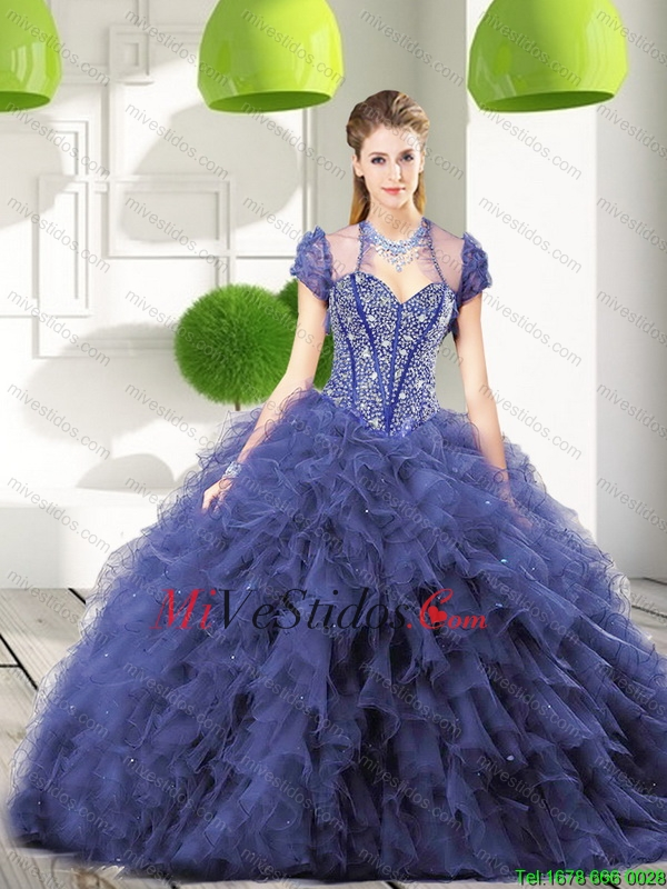 ecc5fd9209 Moderno Azul marino vestido de quinceañera con rebordear y Volantes de 2016.  triumph