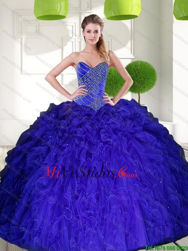 Magnífico pavo real azul cariño rebordear vestido de bola del ...