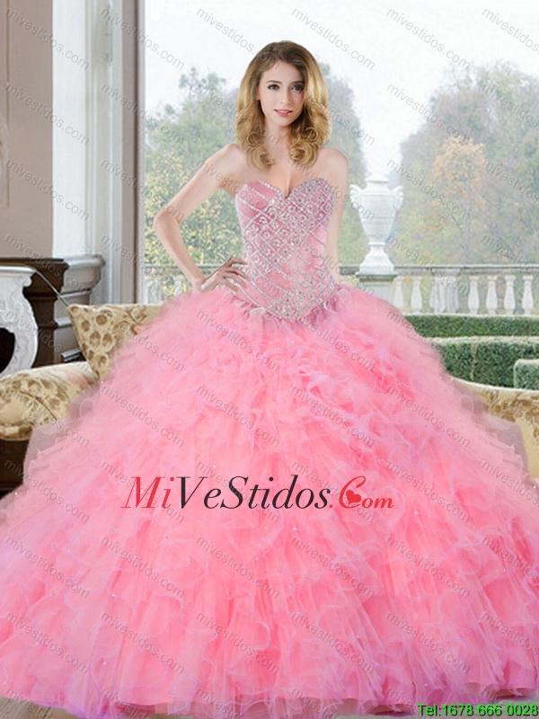 Rebordear Colorido y Volantes de novia vestido de quinceañera para ...