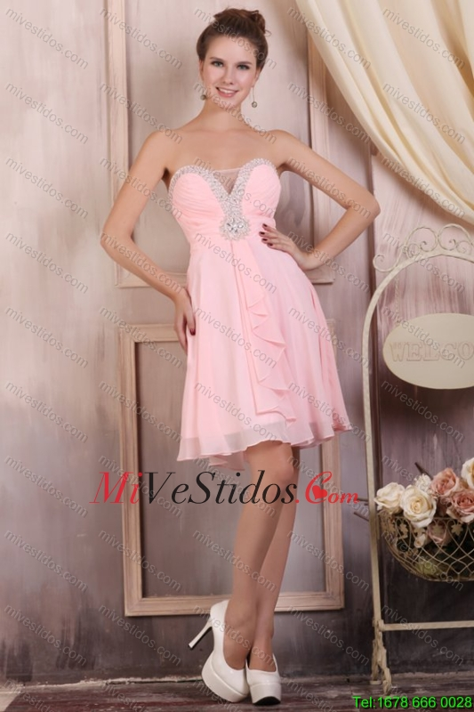 Bebé imperio del amor rosado corto vestido de dama con rebordear ...