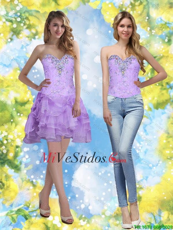 Exquisito 2015 Corto cariño vestido de dama con listones y Volantes ...