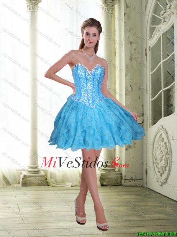910792415 2016 Elegante rebordear y Volantes corto vestido de dama de Azul Claro.  triumph