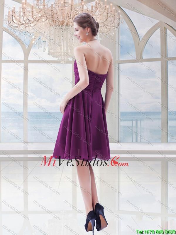 Columna simple gasa apliques sin tirantes vestido de dama en púrpura ...