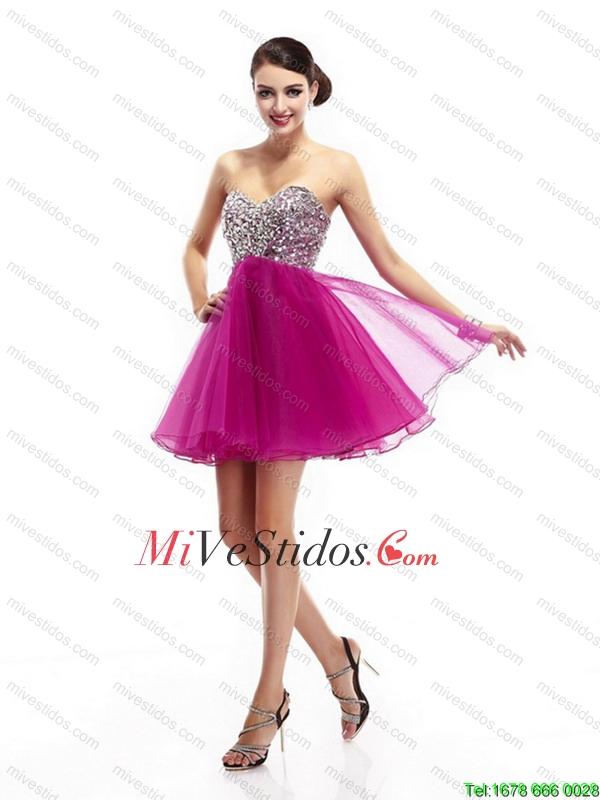 Hermosas fucsia Sweetheart Dama Vestidos con diamantes de imitación ...
